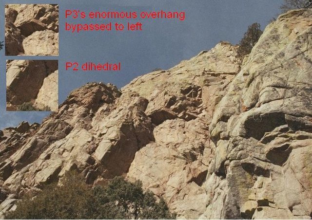 Rock Climbing Photo: Diagonal:  a view of P2 and P3.