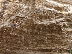 Rock Climbing Photo: Adrien working through the steep section with Lesl...