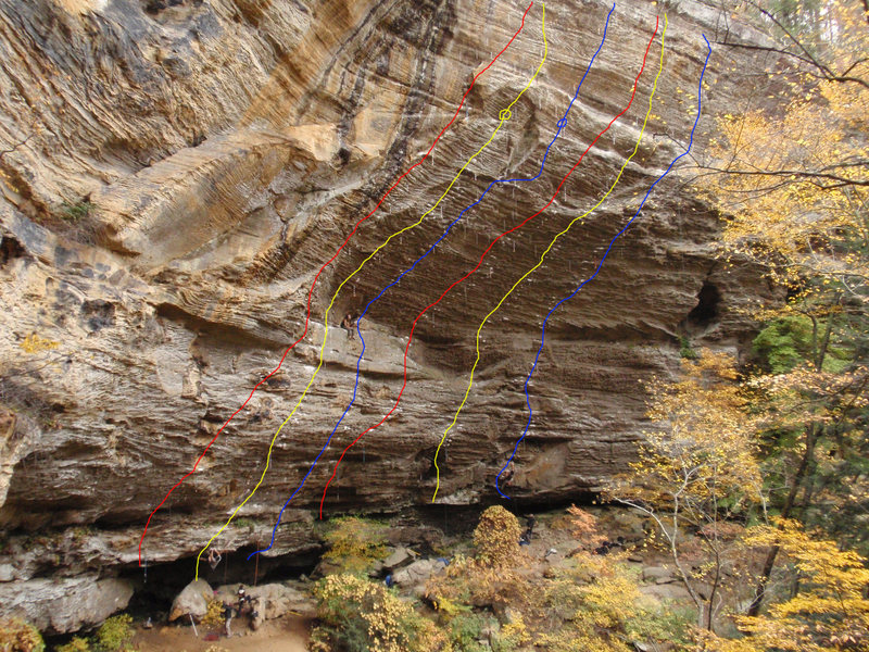 Topo of the routes in the Madness Cave, from left to right:<br> *Transworld Depravity 5.14a<br> *BOHICA 5.13b/Last of the Bohicans 5.13d<br> *Flower Power 5.13b/Pushing up Daisies 5.13c<br> *Omaha Beach 5.14a<br> *The Madness 5.13c<br> *40 oz of Justice 5.13a