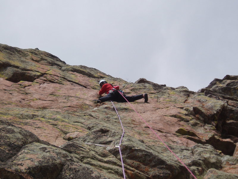 Finishing the crux pitch of Thunderbird on the FA.