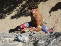 Rock Climbing Photo: Geoff aid bouldering on Halloween below the Exorci...
