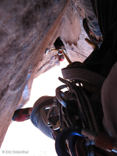 Rock Climbing Photo: looking down just after clipping the ancient star ...
