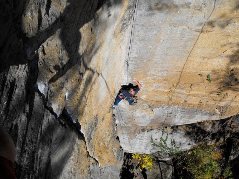 Rock Climbing Photo: Halfway up Perforator.  B3 crack in the foreground