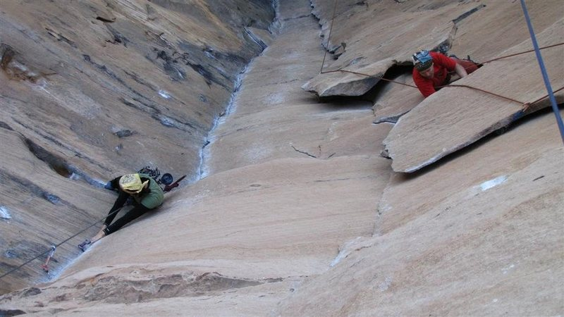 Rock Climbing Photo: Rock Wars on the left. Hot September on the right.