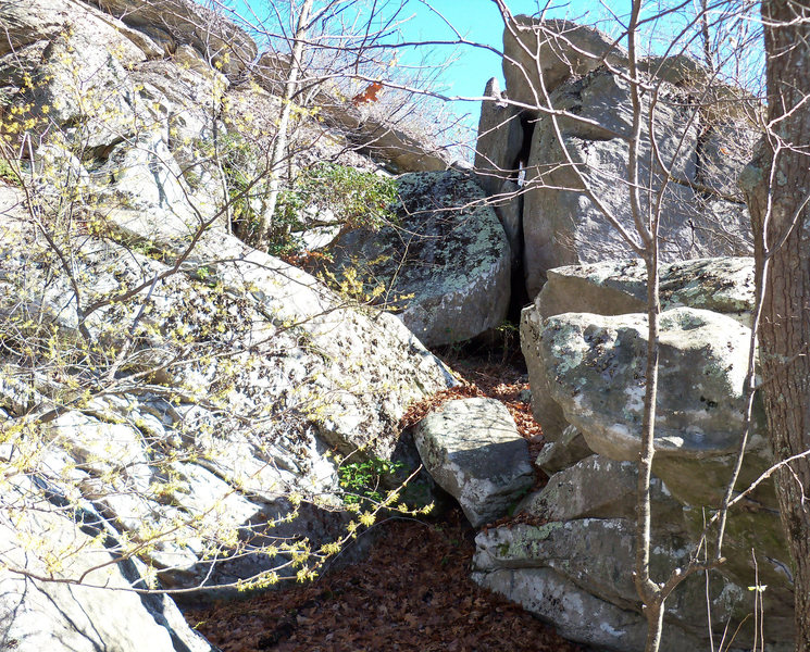 Rock Climbing Photo: the maxima boulder is the one that is up the gap, ...