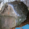 "The Secant Boulder, with the ""secant line"" (V-7+) clearly chalked."
