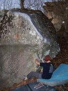 Rock Climbing Photo: Aaron Parlier pulling up from the sit start underc...
