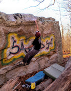 """Rock Climbing Photo: Aaron Parlier Sticking the dyno onto """"Sandy S..."""