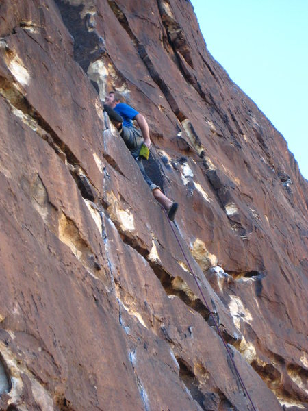 Bobby was so happy to have pulled over the crux he did the splits.