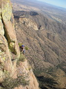 Rock Climbing Photo: Cindy coming across the 25 foot traverse along the...