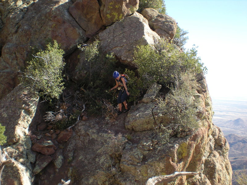 Rock Climbing Photo: Cindy coming down into the notch before the last p...