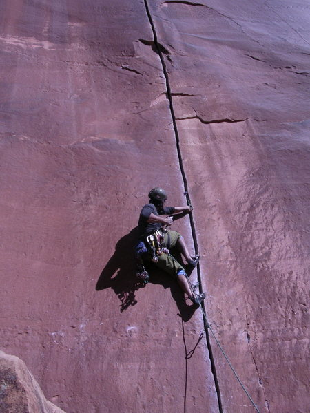 Rock Climbing Photo: Parin finding the moment on Coyne Crack