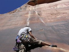 Rock Climbing Photo: Andy Grauch getting into Dos Hermanos