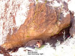 Rock Climbing Photo: Split Boulder: East overhang, right  1. Pumpin the...