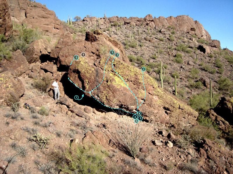 Beast Boulder<br> 1. Nautilus V3 (left side of roof)<br> 2. Righteous Beast project V?<br> 3. Quivering Beast V3<br> 4. Beastly Scurry V1<br> 5. Milky Whimpshake V2<br>