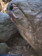 Rock Climbing Photo: Getting ready to mantle onto the crack
