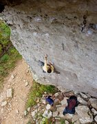 Rock Climbing Photo: Al finishing up a great day at HCR with Sour Girl.