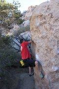 Rock Climbing Photo: Midway on Classic Melon (V3), Joshua Tree NP