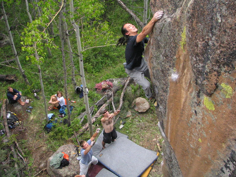 CT snags the jug on Wanton Whim, v6, Red Feather Lakes, CO.