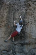 Rock Climbing Photo: Starting the crux sequence on Blue Steel Heat, V5