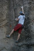 Rock Climbing Photo: Reaching up for the small crimp at the start of th...
