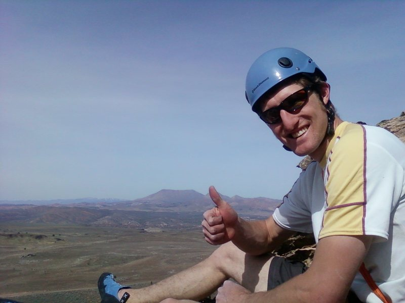 Rock Climbing Photo: Jared on the summit of Stick Revelations.  What a ...