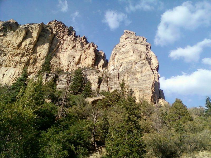 Rock Climbing Photo: Bootleg Butte from the canyon bottom.