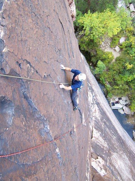 Rock Climbing Photo: Joe at the last cruxy moves to the anchor...