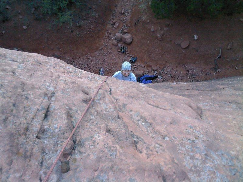Rock Climbing Photo: Pennie Schwalm below the crux.