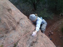 Rock Climbing Photo: Pennie Schwalm topping out Short Headwall.