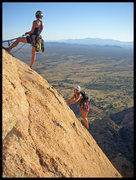 Rock Climbing Photo: Angelina & Christi topping out on the Sheepshead i...