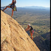 Angelina & Christi topping out on the Sheepshead in Cochise Stronghold.