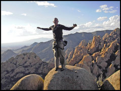 Rock Climbing Photo: Joe atop Rockfellow Dome in Cochise Stronghold.