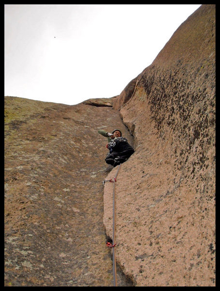 Rock Climbing Photo: Angelina leading P3 of Abracadaver.
