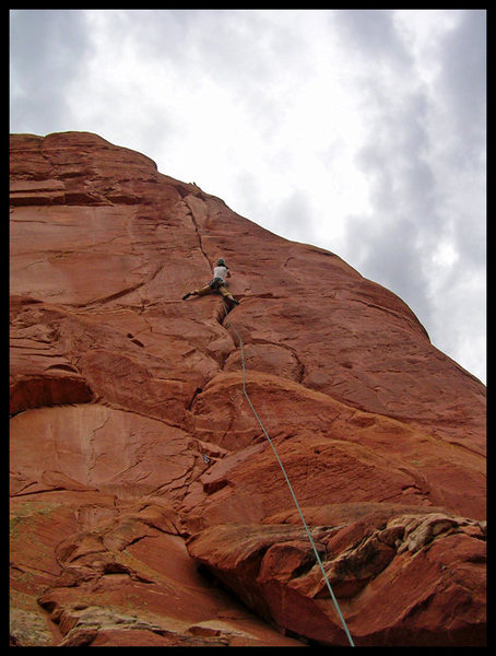 Rock Climbing Photo: Angelina flashing P1 of 1999 in Sedona, AZ.