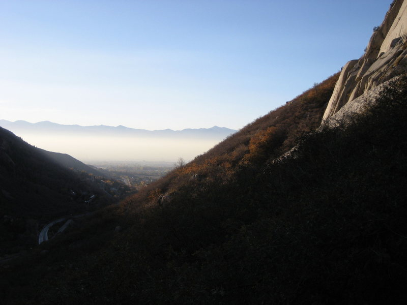 Rock Climbing Photo: The view on the way down from the crag. Climber to...