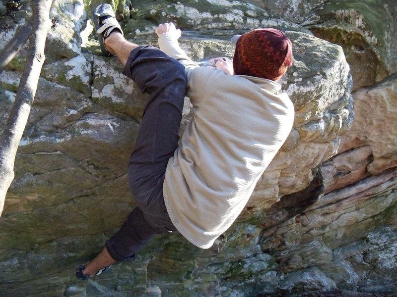 Rock Climbing Photo: Aaron Parlier adding the heel hook to grab the jug...
