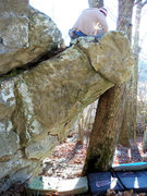 """Rock Climbing Photo: """"enzyte"""" on the speakeasy wall."""