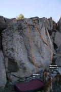 Rock Climbing Photo: Flake Boulder Left Topo