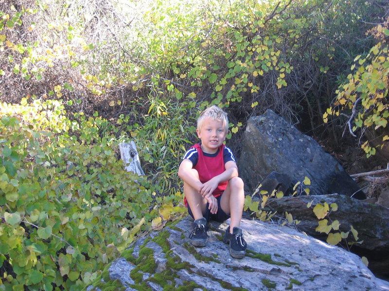 Rock Climbing Photo: Logan chillin in the gully.