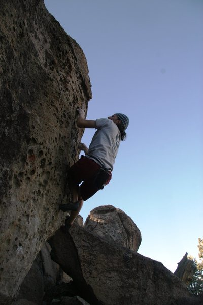 Rock Climbing Photo: Pulling through the upper section of Pocket Rocket...