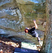 """Rock Climbing Photo: Aaron Parlier on the crux rail on """"Enzyte&quo..."""