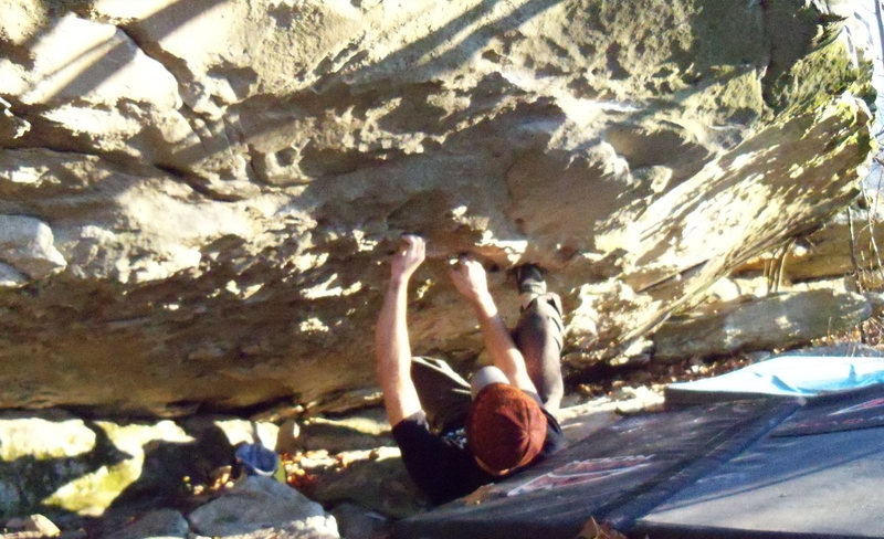 "Rock Climbing Photo: A blurry picture of Aaron Parlier on ""Adhesio..."