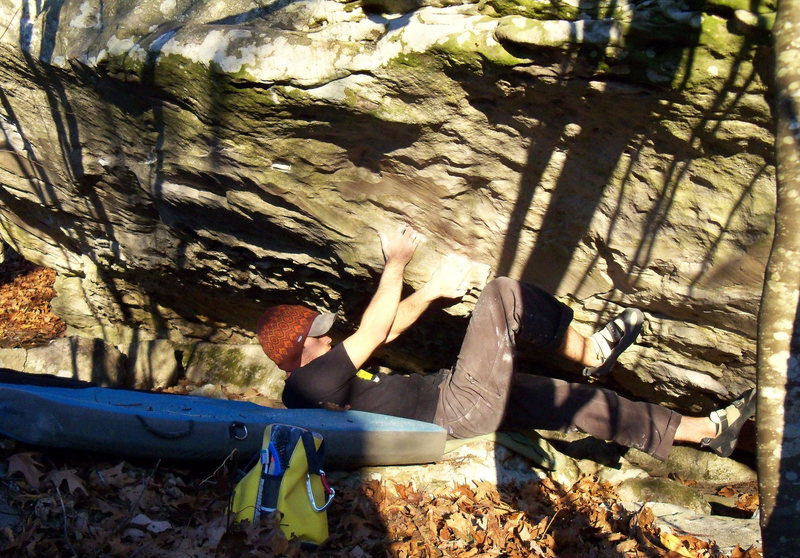 """Rock Climbing Photo: Aaron Parlier starting """"Cohesion"""" (V-4/5..."""