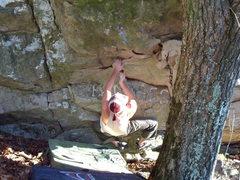 "Rock Climbing Photo: Steve Lovelace on the start to ""Enzyte"" ..."