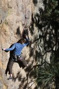 Rock Climbing Photo: Megan Lewis climbing into the shadows on a final l...
