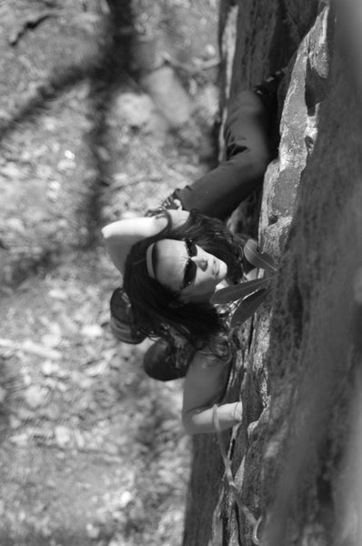 Laura seconding a climb in Coppers Rock, WV
