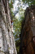 Rock Climbing Photo: Laura leading Mr. Green Genes 5.9 at Rob's Knobs, ...