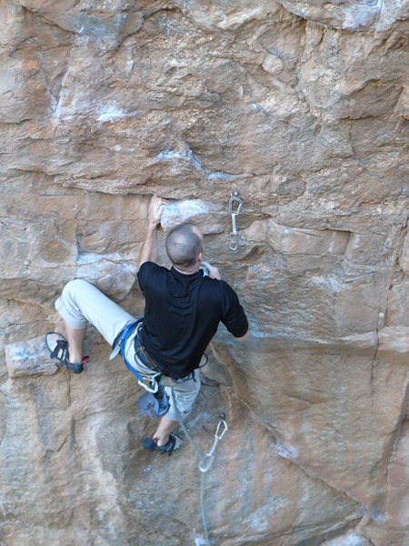 Rock Climbing Photo: How NOT to clip if you wanna keep your melon intac...