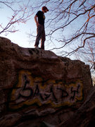 Rock Climbing Photo: Aaron Parlier with a  post-send stance on the spra...